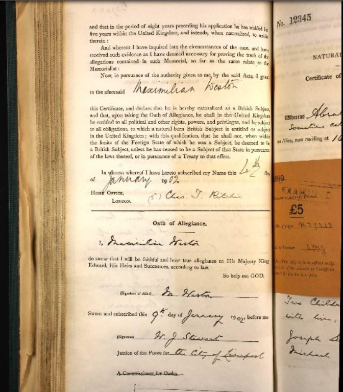 John Weston's application for naturalization