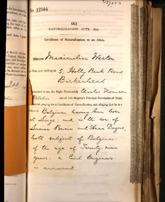 John Weston's naturalization application